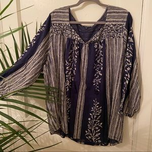 NWOT Lucky Brand Navy Split Neck Boho Henley Top